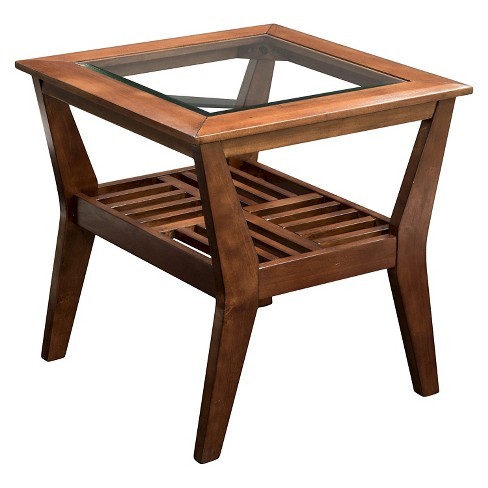 Sun Pine Couve Gl Top Coffee Table Dark Cherry