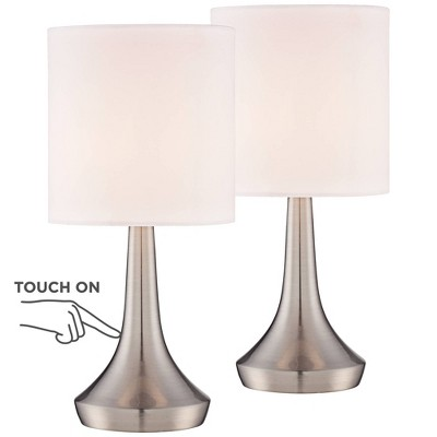 """360 Lighting Modern Small Accent Table Lamps 13"""" High Set of 2 Touch On Off Brushed Steel White Drum Shade for Bedroom Bedside Office"""