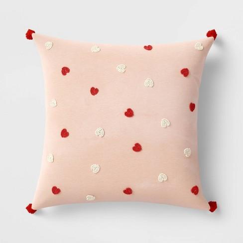 Square Beaded Velvet Valentine's Day Hearts Pillow Blush - Opalhouse™ - image 1 of 4