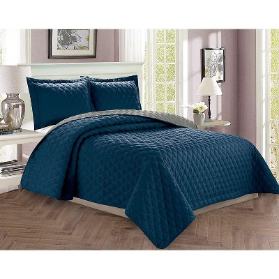 Elegant Comfort Luxury 3-Piece Bedspread Coverlet Diamond Design Quilted Set with Shams All Season Heavy Weight-Hypoallergenic-Wrinkle & Fade Resistant.