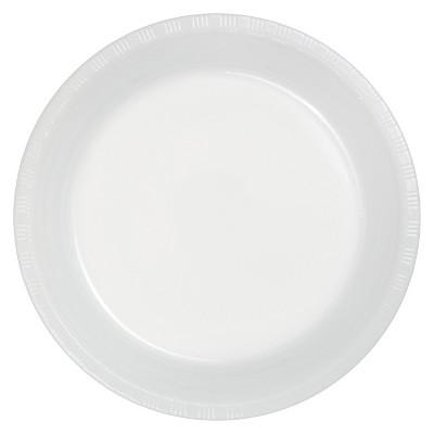 """White 9"""" Plastic Plates - 20ct"""