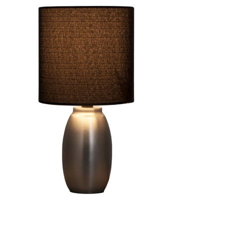 Metal Base Table Lamp Silver With Black Shade Includes Energy