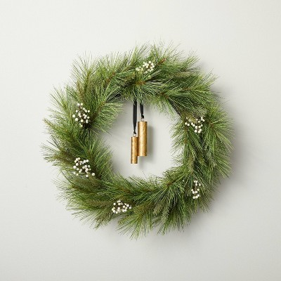 """24"""" Faux Needle Pine Plant Wreath with White Berries - Hearth & Hand™ with Magnolia"""