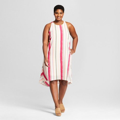 Women\'s Plus Size Striped Sleeveless High-Low Dress - Ava & Viv™ Cream