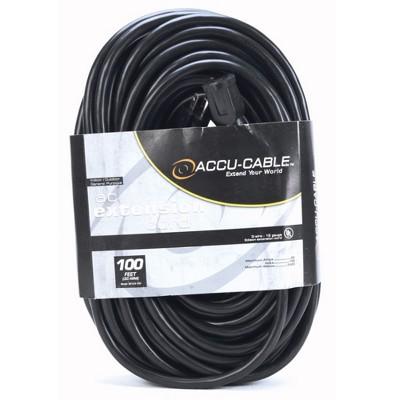American DJ 100 Foot 12 Gauge 20 Amp Indoor Outdoor Audio Extension Cord Cable ETL Approved, Black