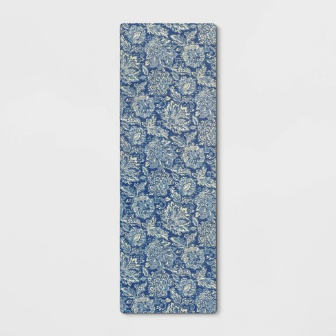 Floral Comfort Rug Runner Blue - Threshold™ - image 1 of 3