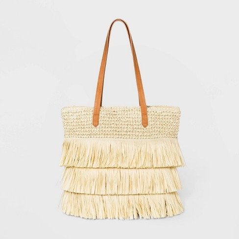 Straw Fringe Tote Handbag - Universal Thread™ Natural - image 1 of 3