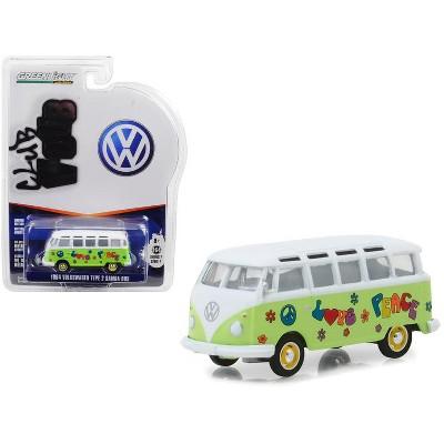 "1964 Volkswagen Type 2 Samba Bus ""Peace & Love"" Light Green Series 7 Club Vee Dub 1/64 Diecast Model by Greenlight"
