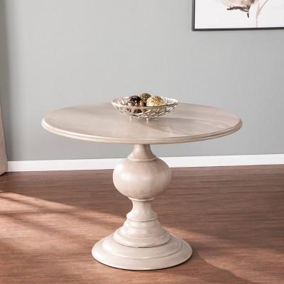 Simhurst Round Pedestal Dining Table Gray - Aiden Lane