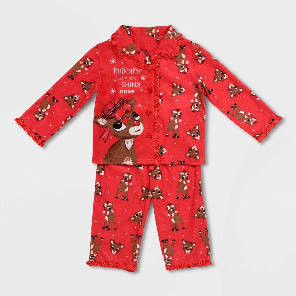 Image of Baby Girls' Rudolph the Red-Nosed Reindeer Pajama Set - Red 18M, Girl's