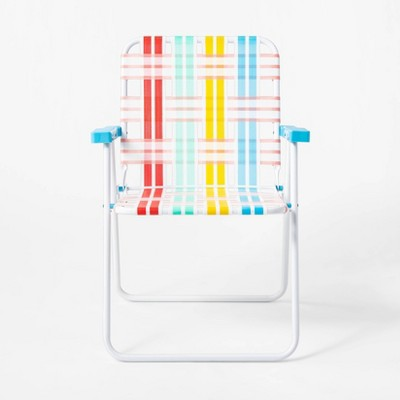 Variegated Stripe Webstrap Chair Red/Yellow/Blue - Sun Squad™