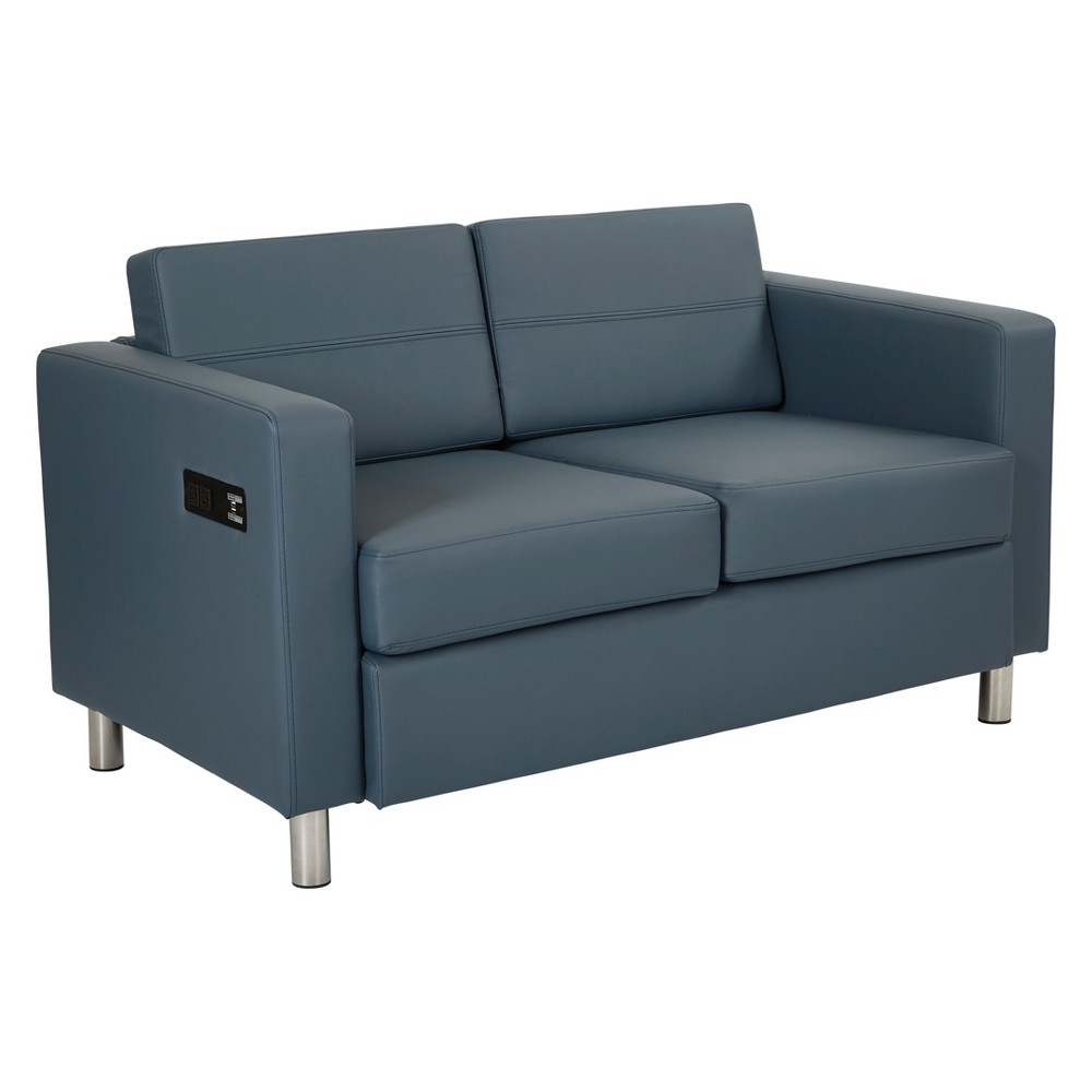 Atlantic Loveseat With Dual Charging Station Blue - Osp Home Furnishings