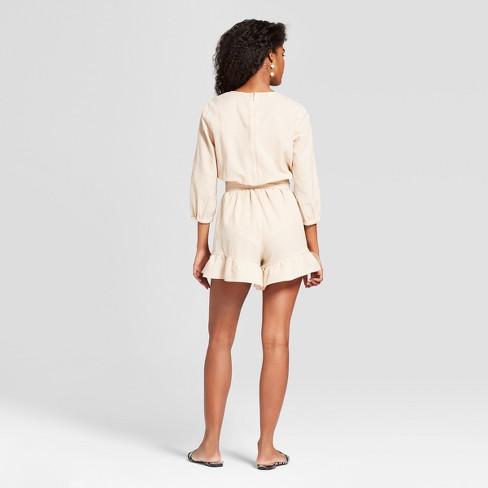 2c8d3582ba6b Women s Striped Long Sleeve Belted Romper - Who What Wear™ Tan White M    Target