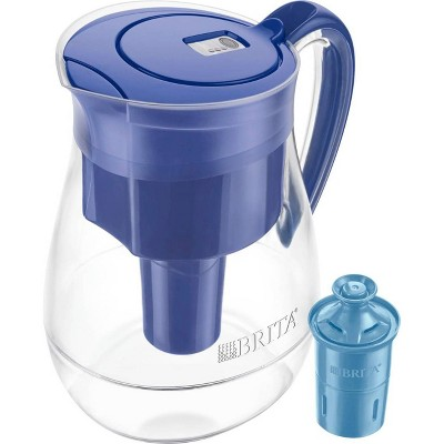 Brita Water Filter Monterey 10-Cup Water Pitcher Dispensers with Longlast Water Filter - Blue