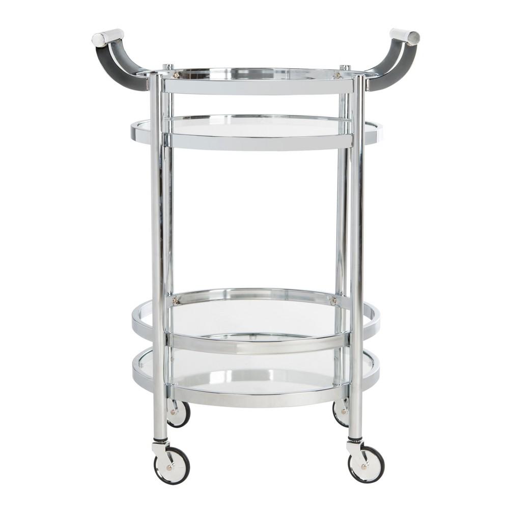 Sienna 2 Tier Round Bar Cart Chrome (Grey) - Safavieh