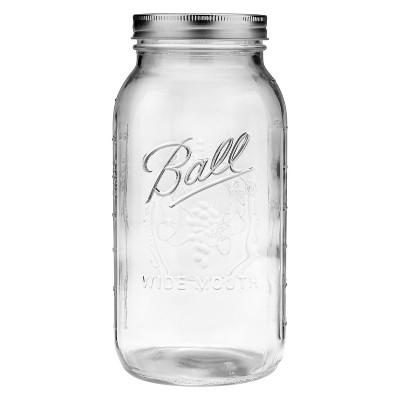 Ball 64oz Glass Mason Jar with Lid and Band - Wide Mouth (Single Jar)