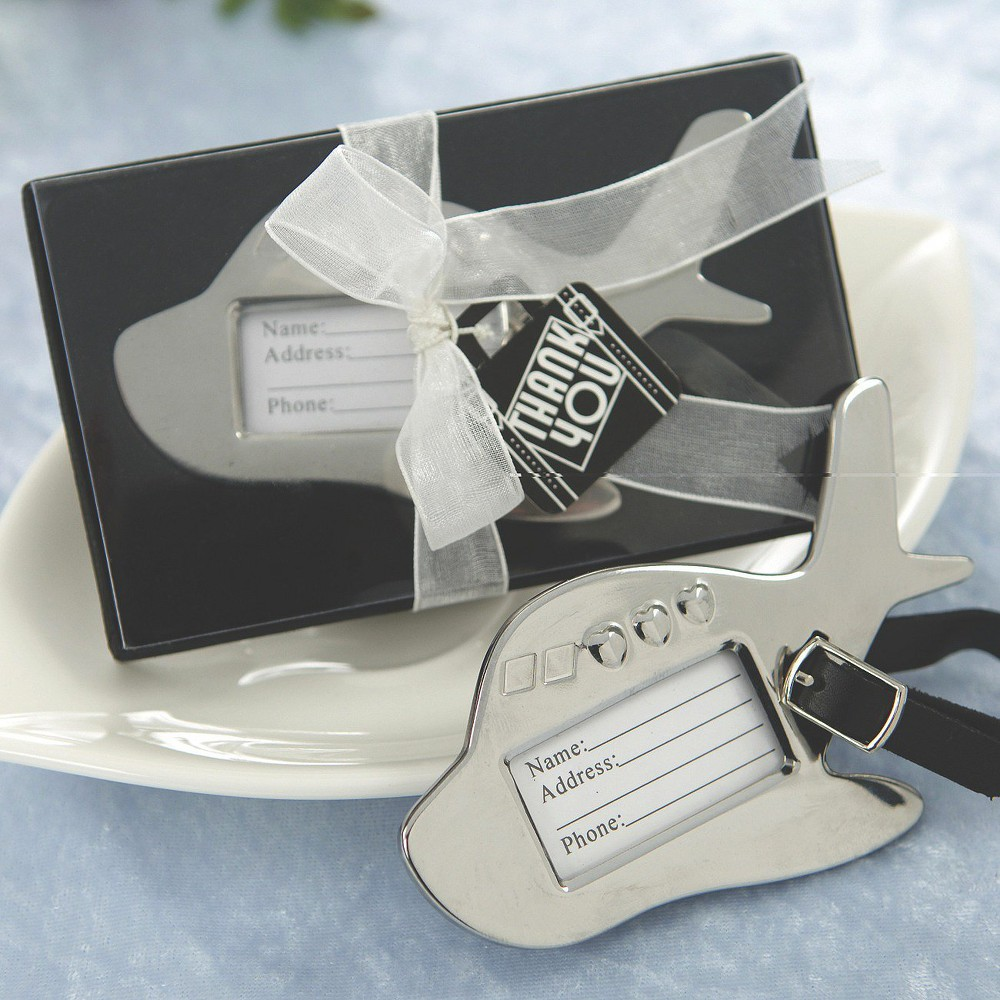 12ct Kate Aspen Airplane Luggage Tag, Grey