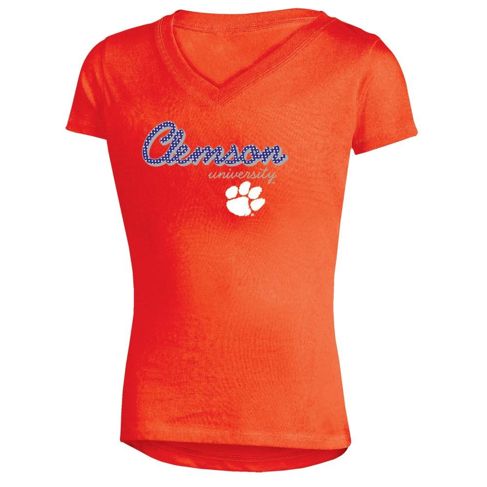 Clemson Tigers Girls' Short Sleeve Bright Lights V-Neck T-Shirt L, Multicolored