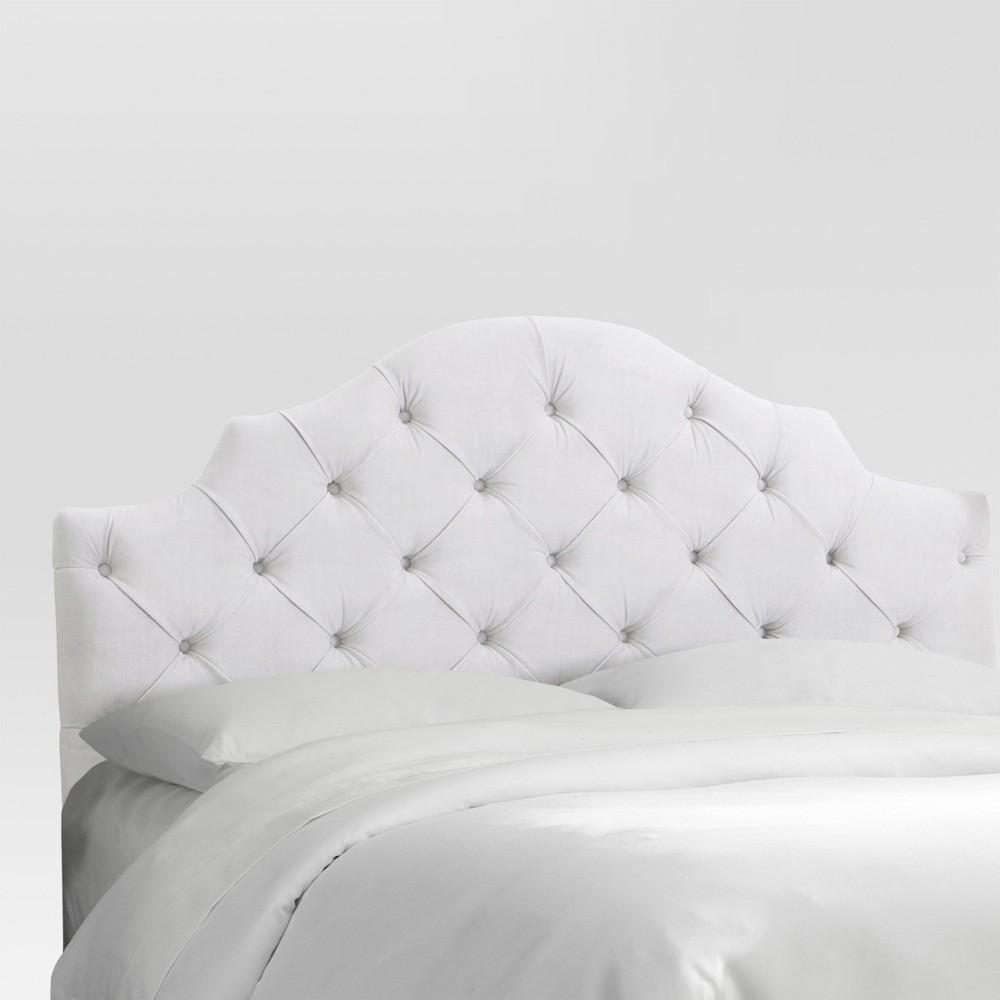 Queen Tufted Notched Headboard - Velvet White - Threshold