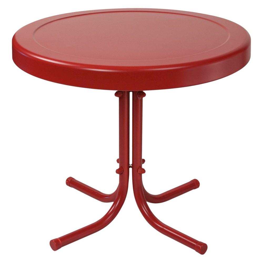 Crosley Retro Metal Patio Side Table In Coral Red