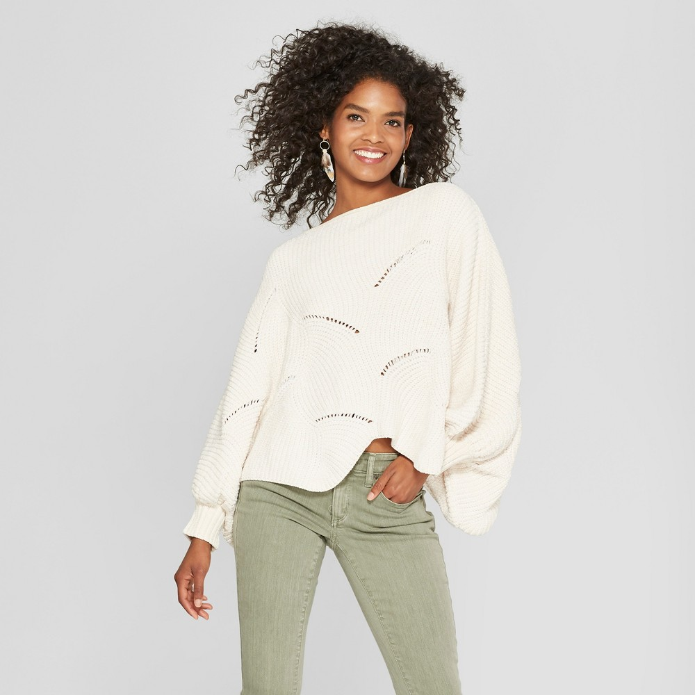 Women's Long Sleeve Scalloped Crop Sweater - Cliche White XL