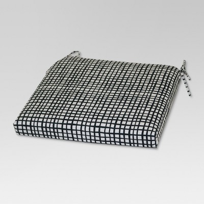 Outdoor Seat Cushion - Black Grid - Room Essentials™