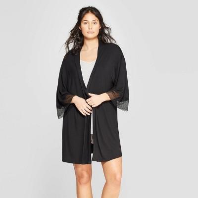 Women's Beautifully Soft Lace Trim Robe - Stars Above™ Black M/L