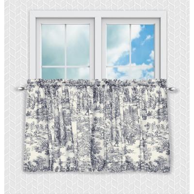 Ellis Curtain Victoria Park Toile Design Printed Room Darkening 2-Piece Window Rod Pocket Pair Set With 2 Tiers