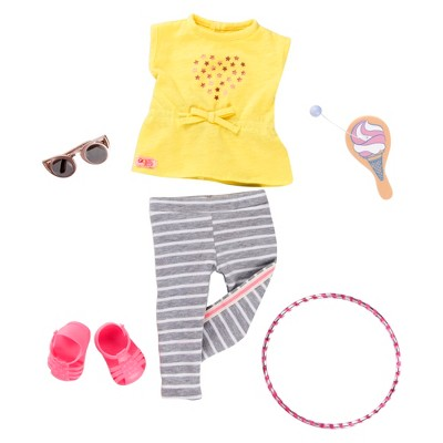 """Our Generation Hula Hooray with Hula Hoop Sporty Fashion Outfit for 18"""" Dolls"""