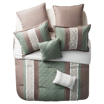 Green&Brown Farion Pleated Scroll Comforter Set (King)8 Piece - VCNY