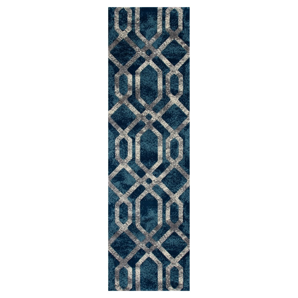 Image of Blue Abstract Woven Runner - (2'X8') - Art Carpet