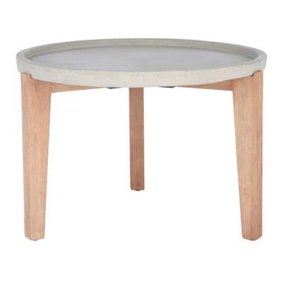 Valton Side Table - Natural/Light Gray - Safavieh