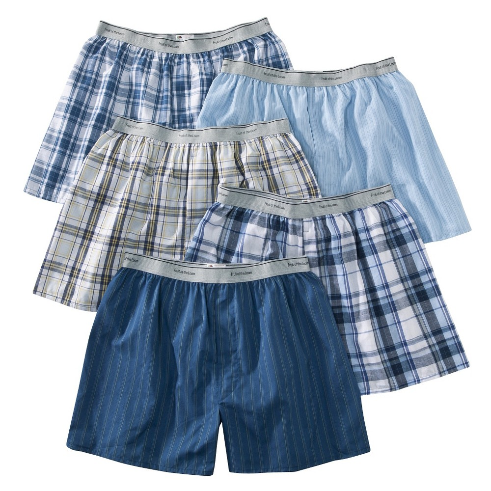 Fruit of the Loom Men's Elastic Waistband Boxers 5-Pack - Assorted Colors M, Multicolored