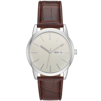 Men's Classic Day/Date Strap Watch - Goodfellow & Co™ Silver/Brown