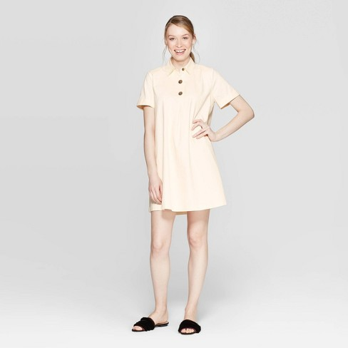 Women's Short Sleeve V-Neck Trapeze Shirtdress - Who What Wear™ - image 1 of 3
