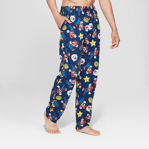 Men's Mario Coins and Stars Toss Pajama Pants - Navy - image 1 of 2