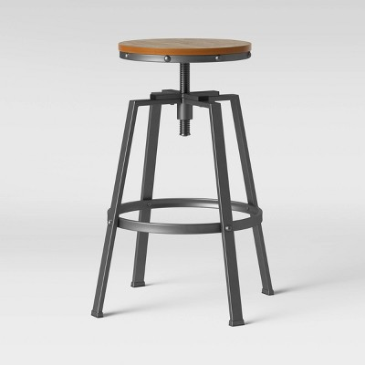 Lewiston Adjustable Swivel Barstool Gunmetal - Threshold™