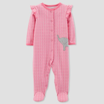 Baby Girls' Elephant Cotton Sleep N' Play - Just One You® made by carter's Pink 6M