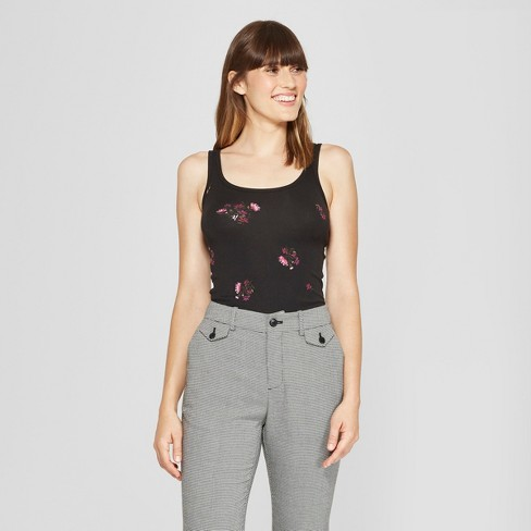 Women's Slim Fit Any Day Floral Print Tank - A New Day™ Black/Pink - image 1 of 3