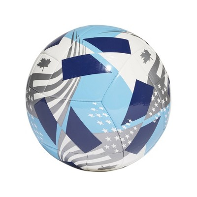 Adidas MLS Size 5 Club Sports Ball - White/Cyan