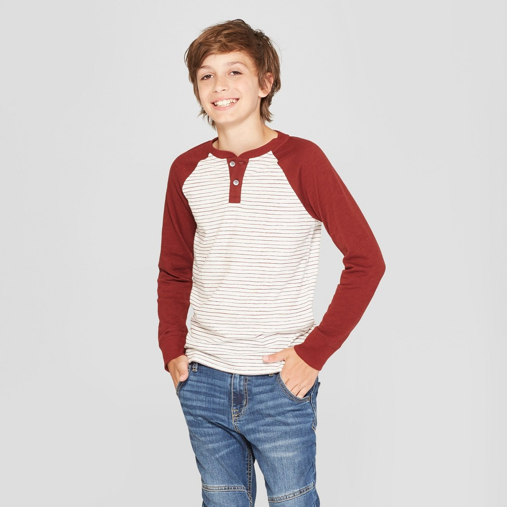 Boys' Long Sleeve Striped Henley Shirt - Cat & Jack Maroon/Cream XS, Red