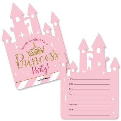 Big Dot of Happiness Little Princess Crown - Shaped Fill-in Invitations - Baby Shower or Birthday Party Invitation Cards with Envelopes - Set of 12