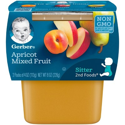 Gerber 2nd Foods Apricot Mixed Fruit Baby Food - 4oz (2ct)