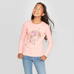 Girls' Long Sleeve Flower Unicorn Graphic T-Shirt - Cat & Jack™ Light Peach