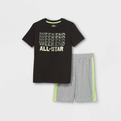 Boys' 2pc Sports Pajama Set - Cat & Jack™ Black