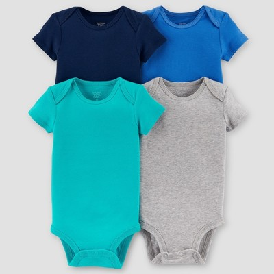 Baby Boys' 4pk Short Sleeve Bodysuit Set - Just One You® made by carter's Blue/Gray 6M