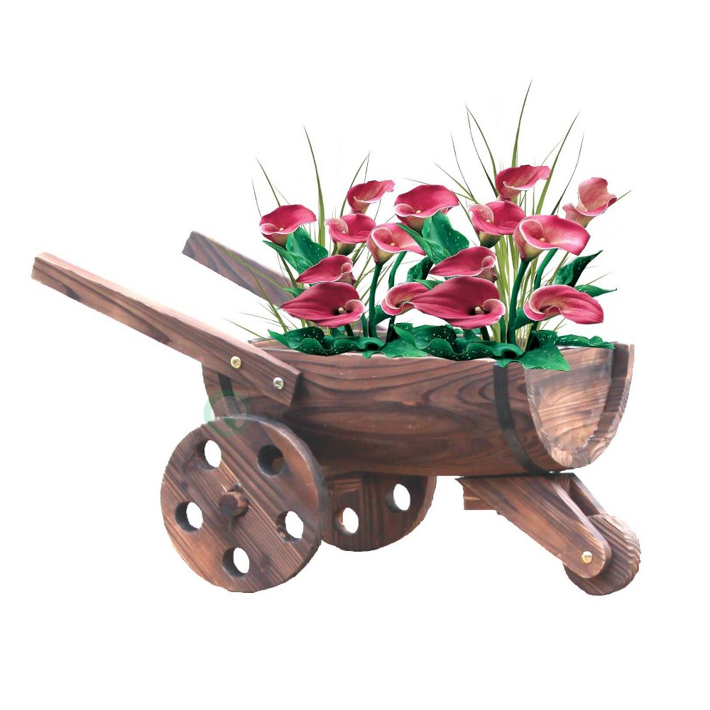"Image of ""18"""" Wooden Wheelbarrow Barrel Novelty Planter Brown - Gardenised"""