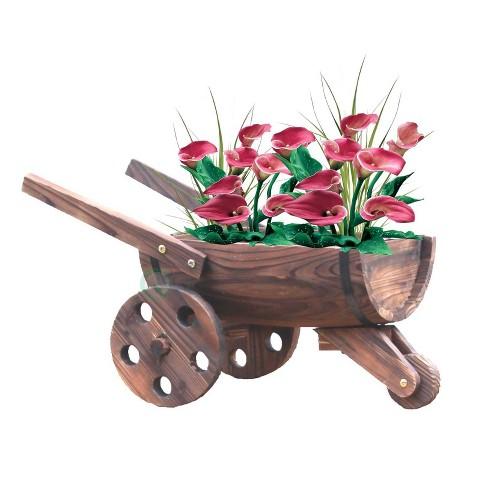 "18"" Wooden Wheelbarrow Barrel Novelty Planter Brown - Gardenised - image 1 of 4"