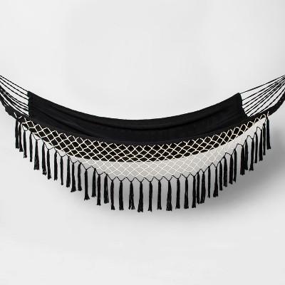 Linen Flat Weave Fringe Hammock - Black/White - Opalhouse™