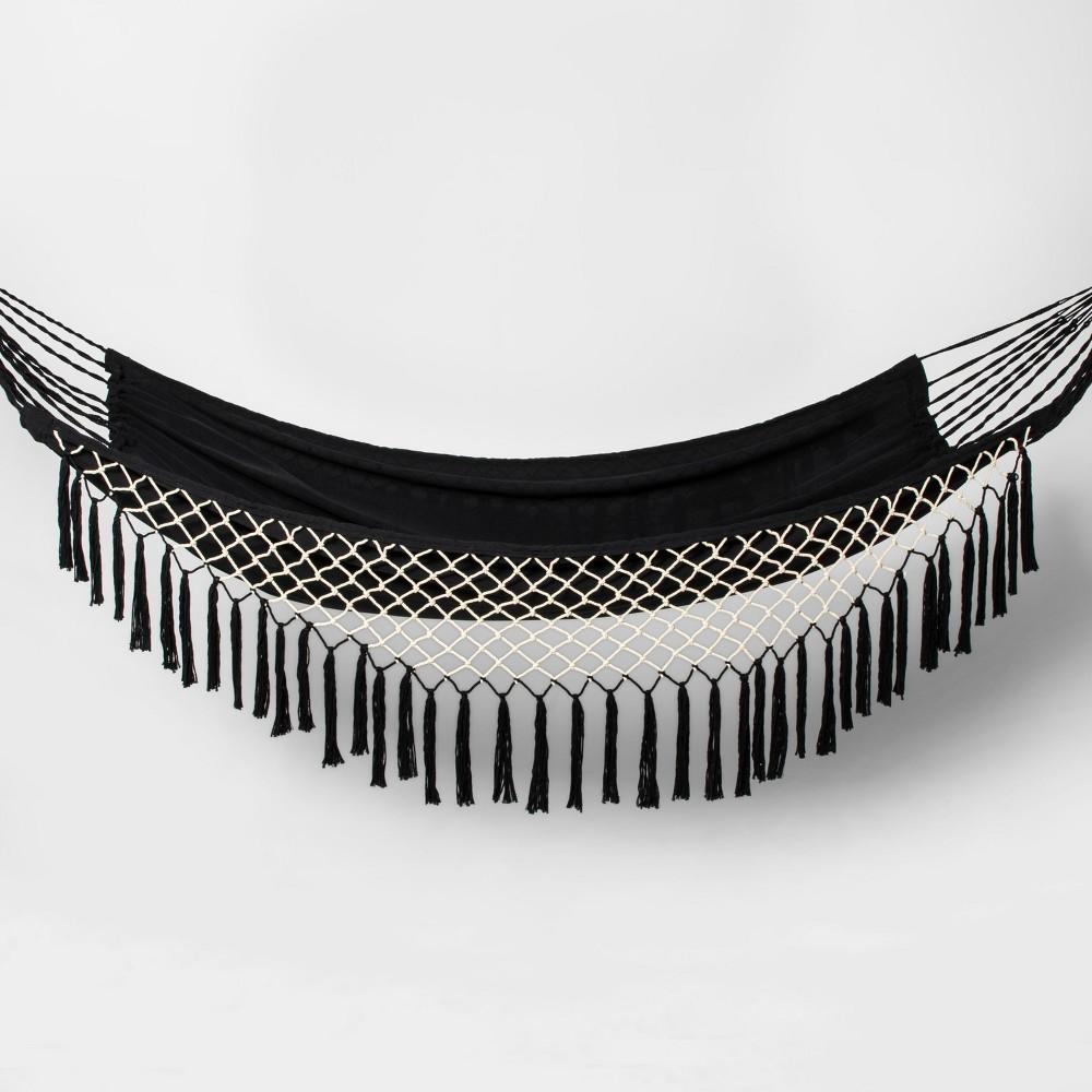 Linen Flat Weave Fringe Hammock - Black/White - Opalhouse